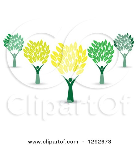 Clipart of a Tree with Green Leaves and Three People Forming the.