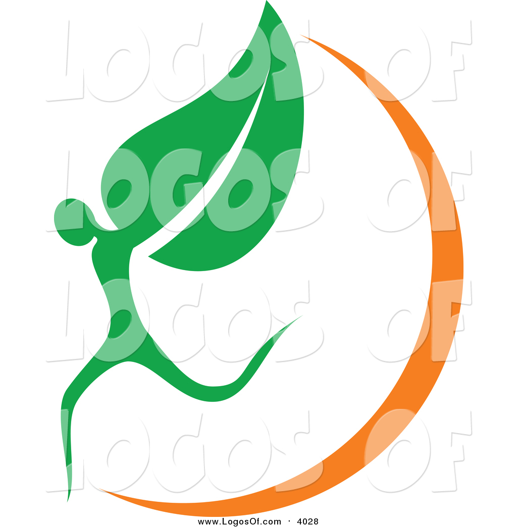 Vector Clipart of an Organic Leaf Person and Orange Swoosh Logo by.