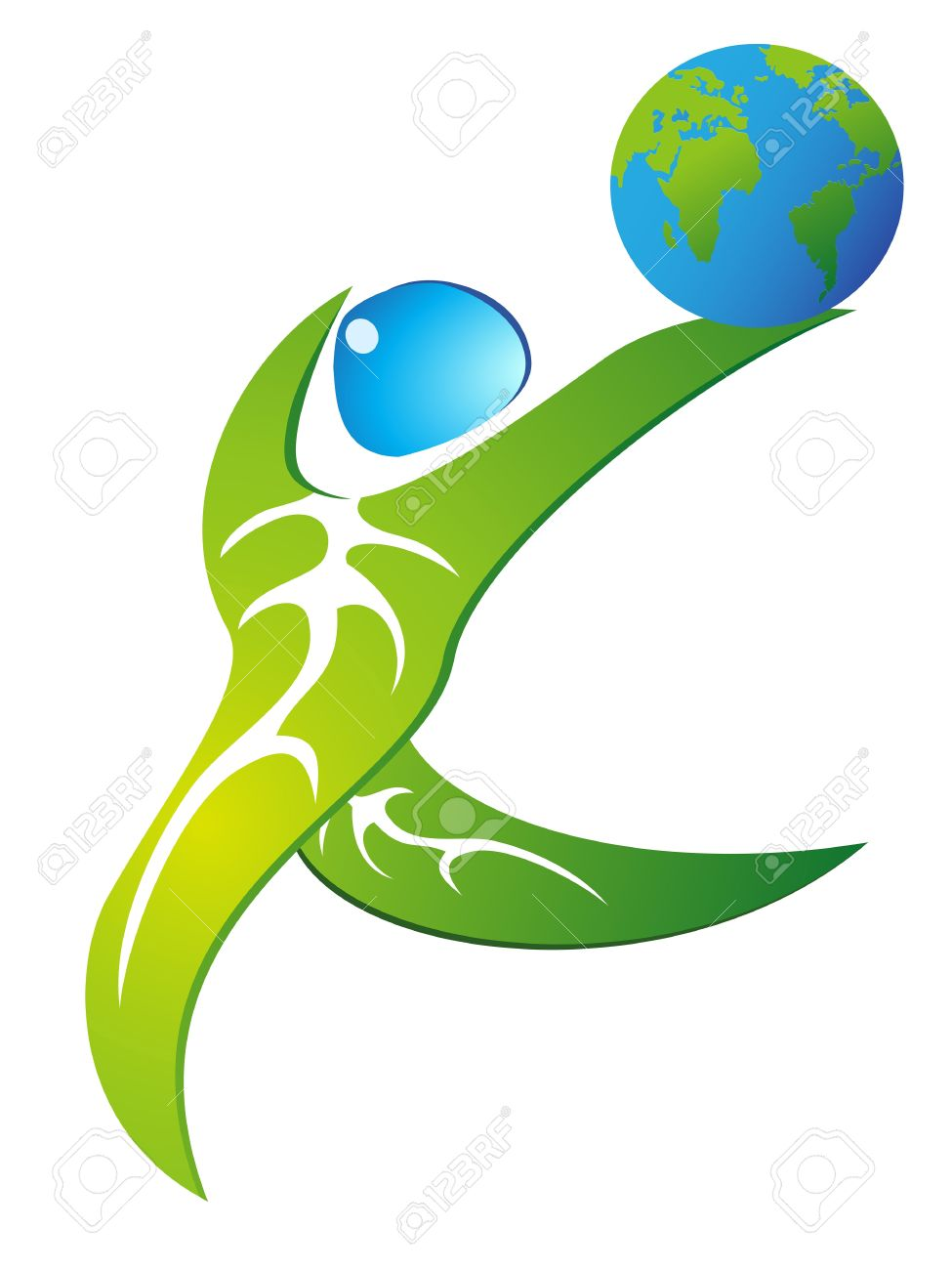 Green Leaf People Holding A Globe And Dancing Royalty Free.