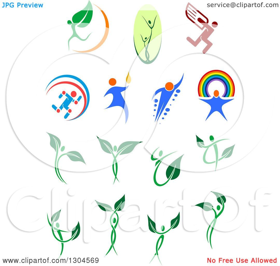 Clipart of Leaf and Dna People.