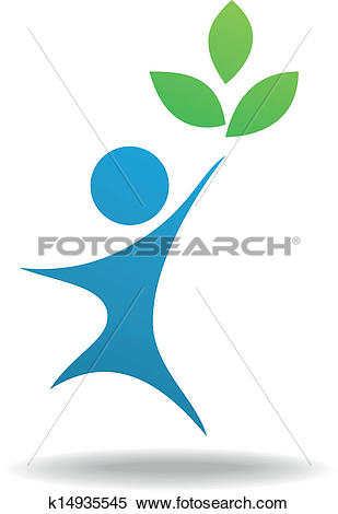 Clipart of People and leaf icon, nature symbol k14935545.