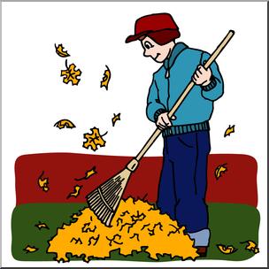 Clip Art: Kids: Chores: Raking Leaves Color I abcteach.com.