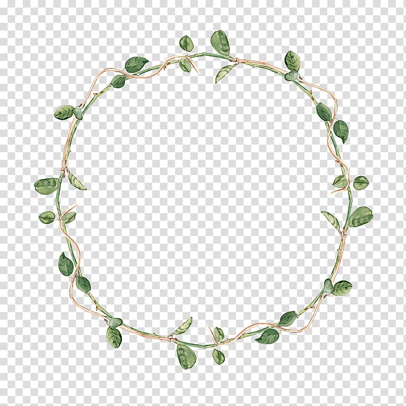 Green leaf wreath, Vine Plant , Rattan ring transparent.