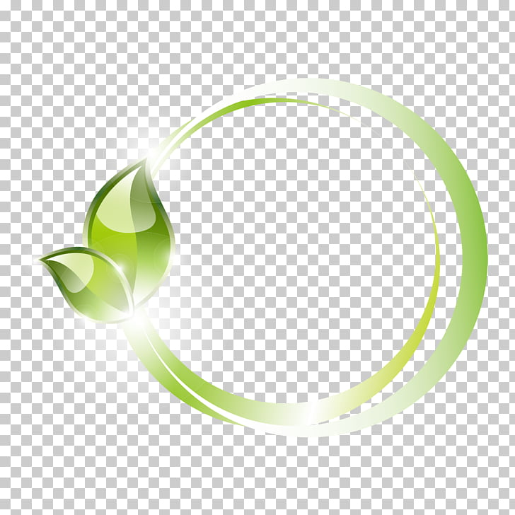 Green leaves ring pattern PNG clipart.