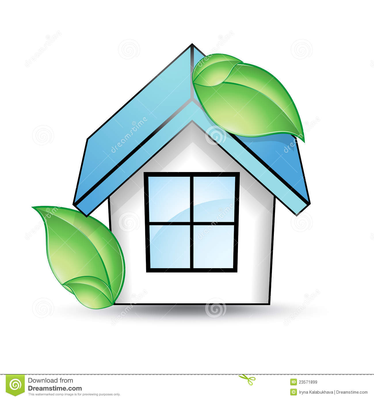 House With A Blue Roof And Green Leaf Royalty Free Stock Images.