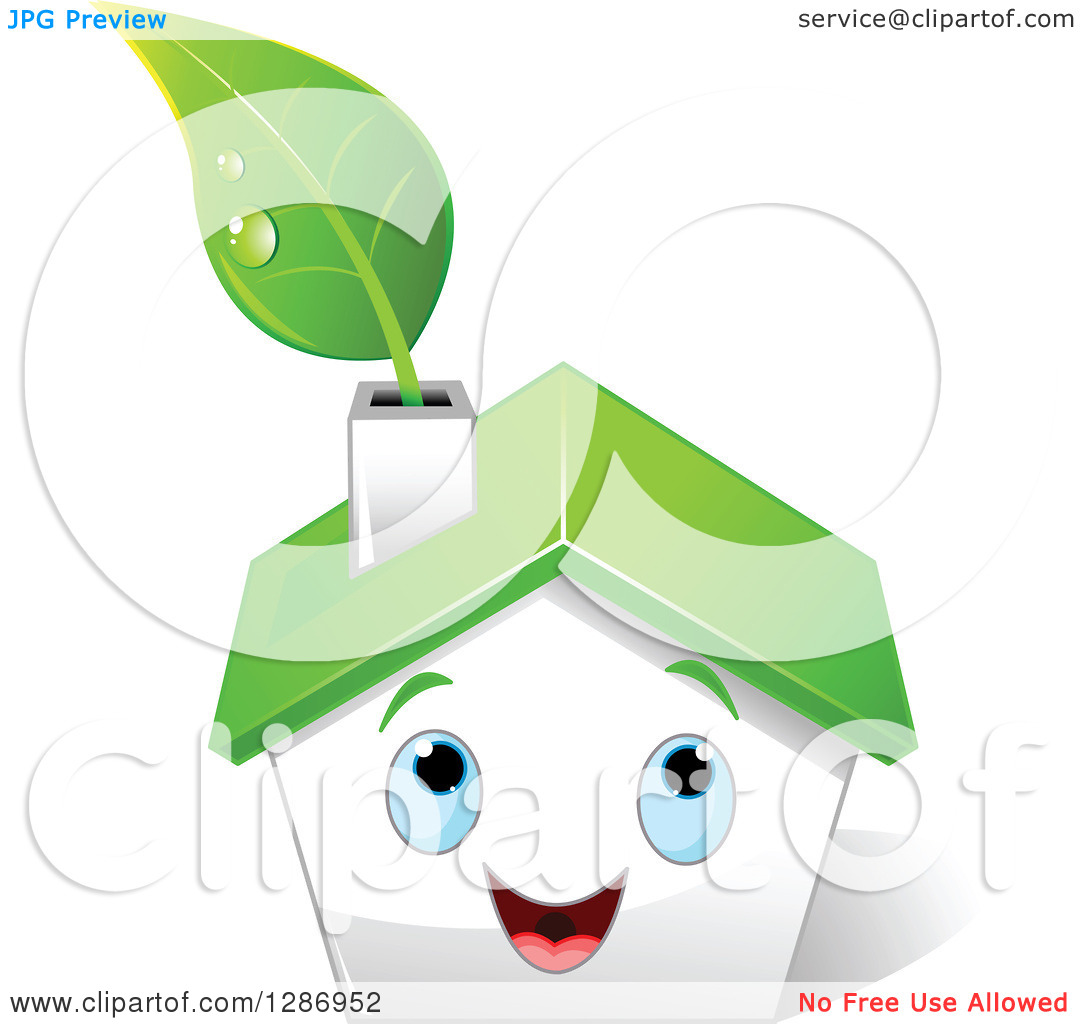 Clipart of a Happy White House with Blue Eyes, a Green Roof and.