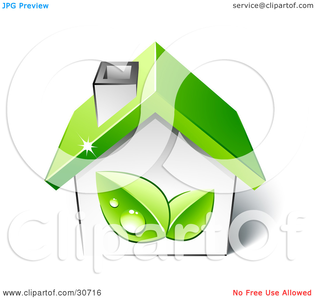 Clipart Illustration of Two Green Dewy Leaves On The Side Of A.