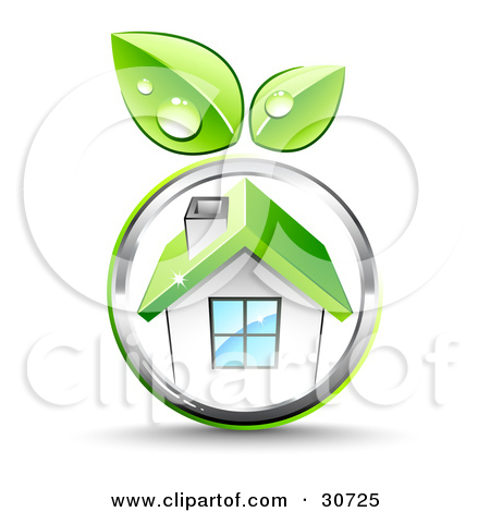 Clipart Illustration of Green Leaves Growing On A Chrome Circle.