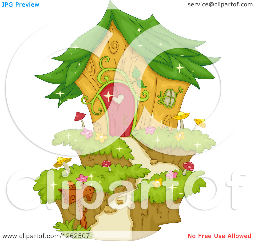 Clipart of a Garden Fairy House with a Leaf Roof.