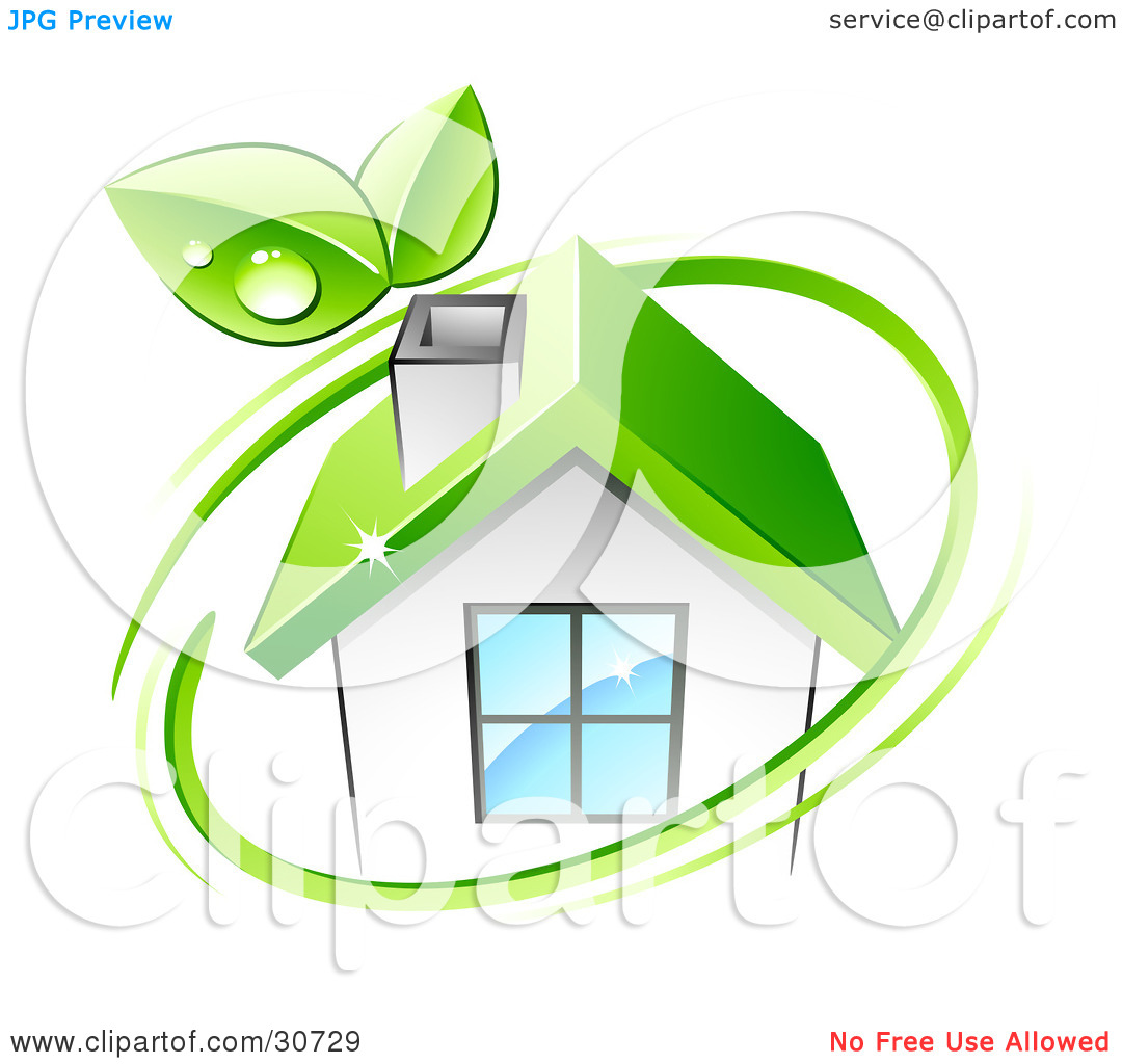 Clipart Illustration of a Green Circle With Dewy Leaves, Around An.