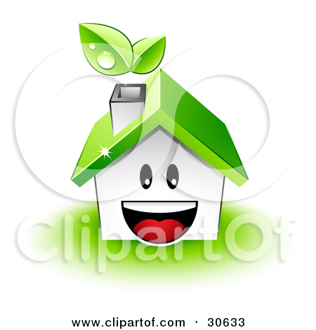 Clipart Illustration of Dewy Leaves Above The Chimney Of A White.