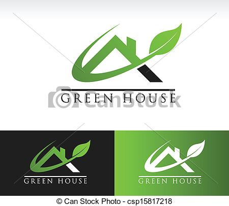 Vector Clip Art of Green House Roof Icon.