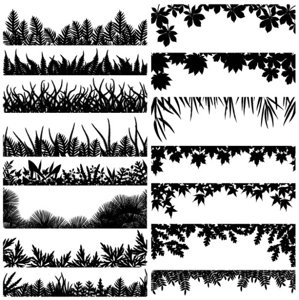 Material of various leaf silhouette vector.