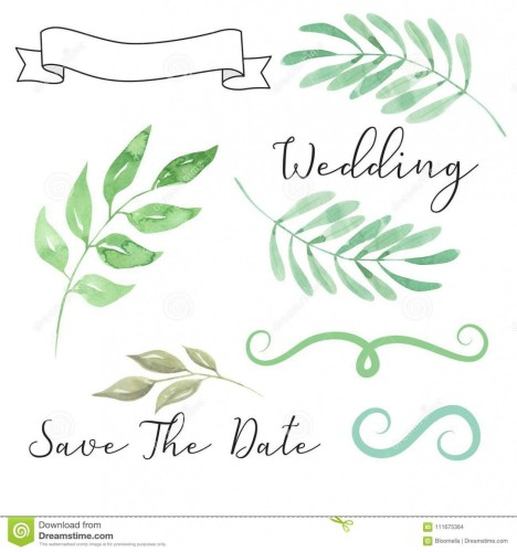 Watercolor Wedding Foliage Save The Date Leaves Leaf Scroll.
