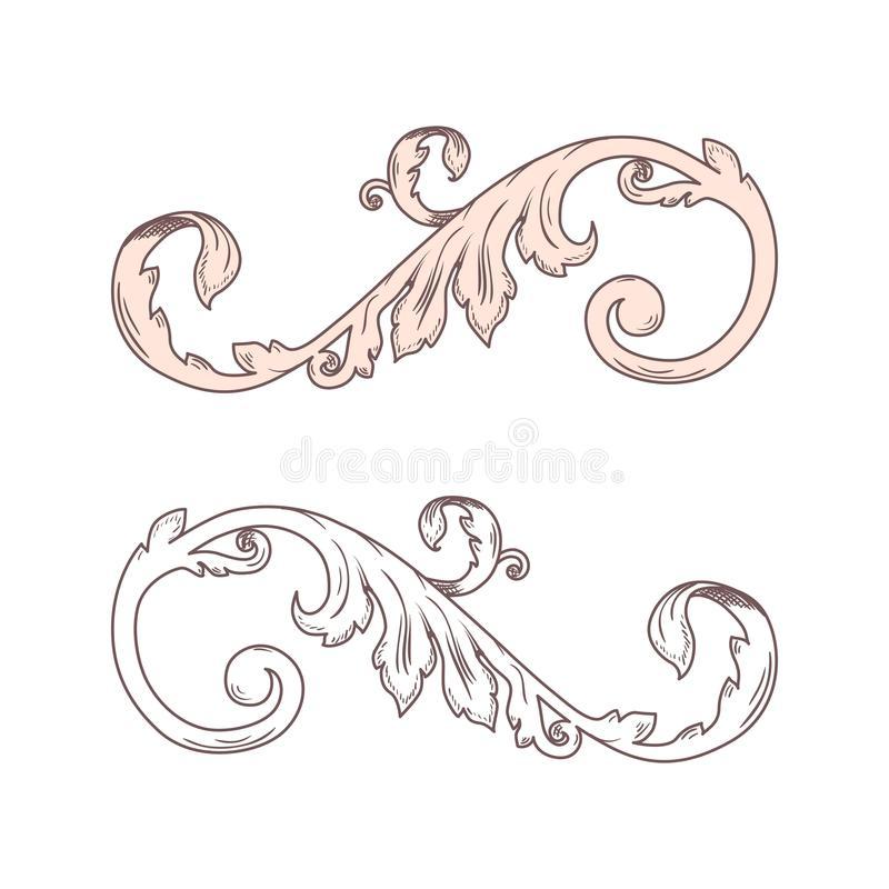 Leaf Scroll Stock Illustrations.