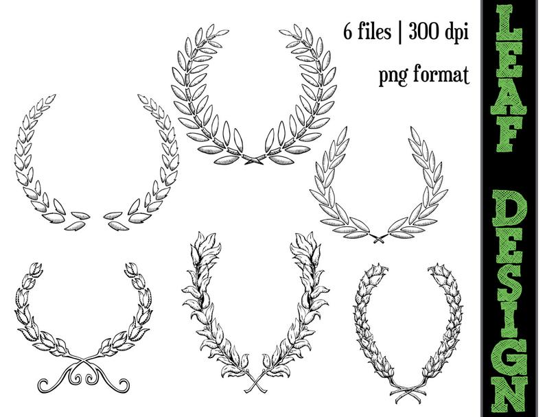 Leaf Design Scroll Work Graphics // Circle Line Art // Floral Silhouettes  // Flower Clipart // Leaves.