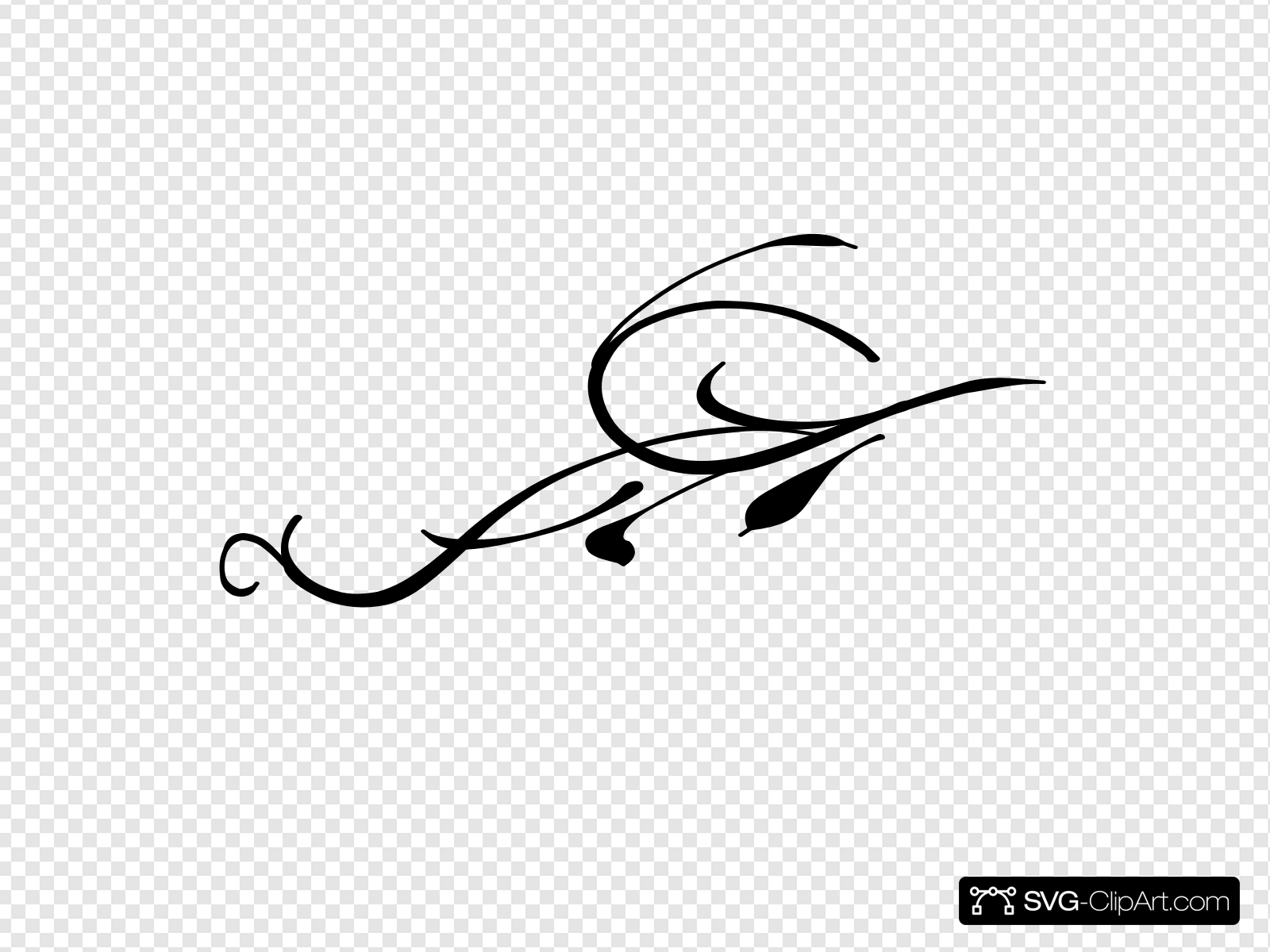 Black Leaf Swirl Clip art, Icon and SVG.