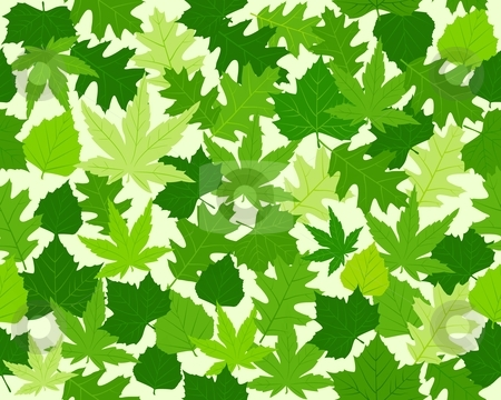 Green spring leaves texture seamless pattern stock vector.