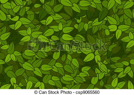 Vector Clipart of Green leaves seamless texture.