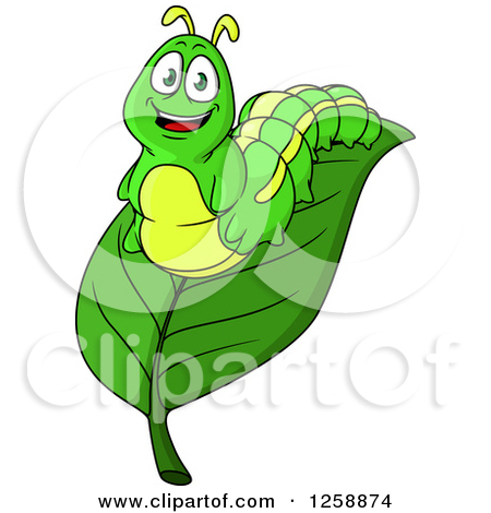 Clipart of Cartoon Caterpillars on Leaves.