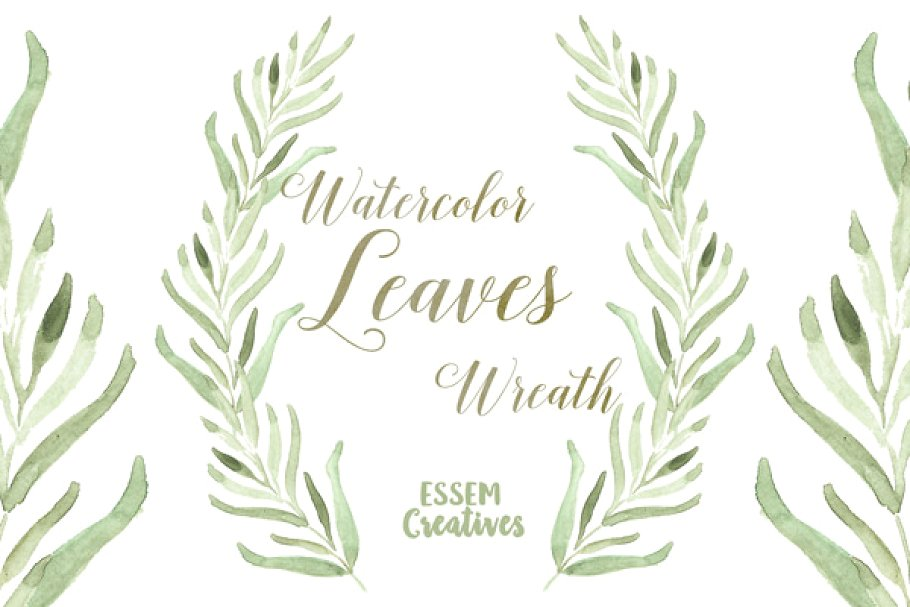 Watercolor Leaf Wreath Clipart.