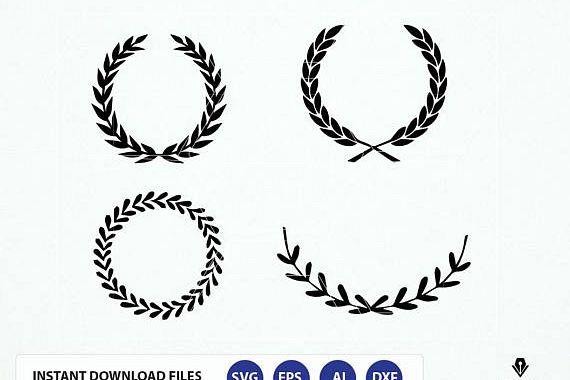 Leaf wreath svg. Leaf wreath Dxf. Laurel wreaths clipart digital download.  Leaf circle monogram frame files svg, png, dxf, eps, cameo.