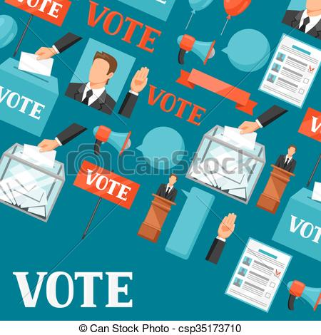 Vector Clip Art of Vote political elections background.