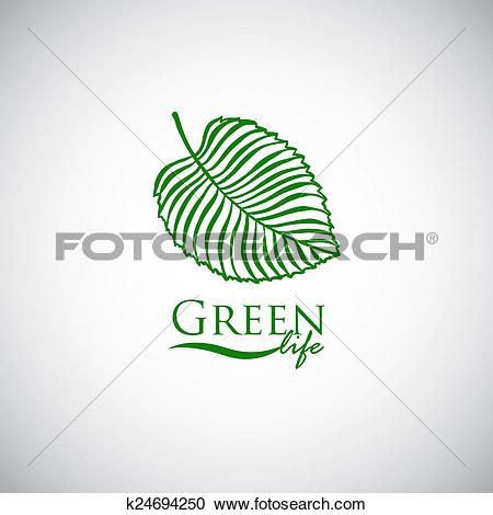 Stock Illustrations of Green life doodle leaf like logo icon.