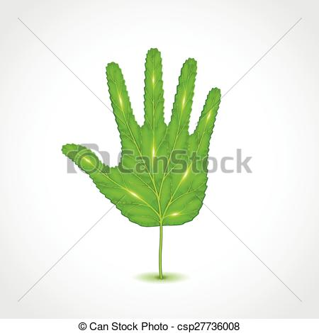 Vector Clipart of Leaf like human hand palm vector illustration.
