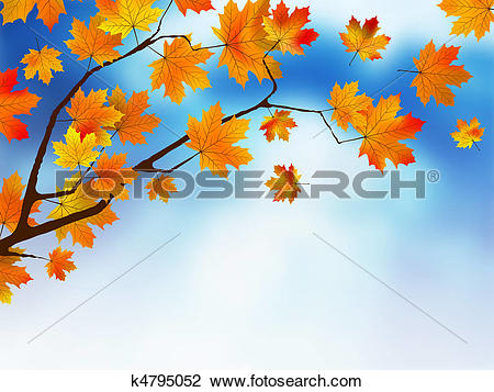 Clipart of Autumn colored leaf on blue sky. k4795052.