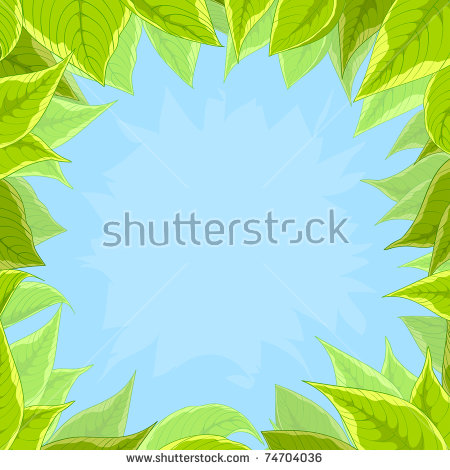 Vector Floral Background, Frame From Flowers Green Leaves And Blue.