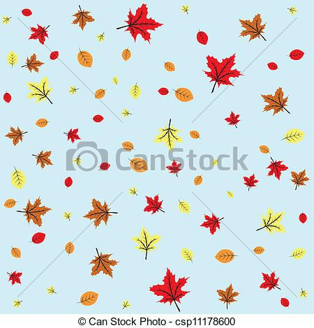 Vector Clipart of Autumn leaves fall, blue sky, seamless.