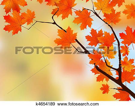 Clip Art of Autumn colored leaf on blue sky. k4654189.