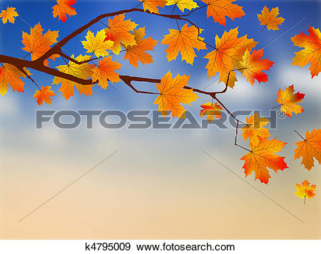 Clip Art of Fall leaves in front of blue sky with clouds. k4795009.