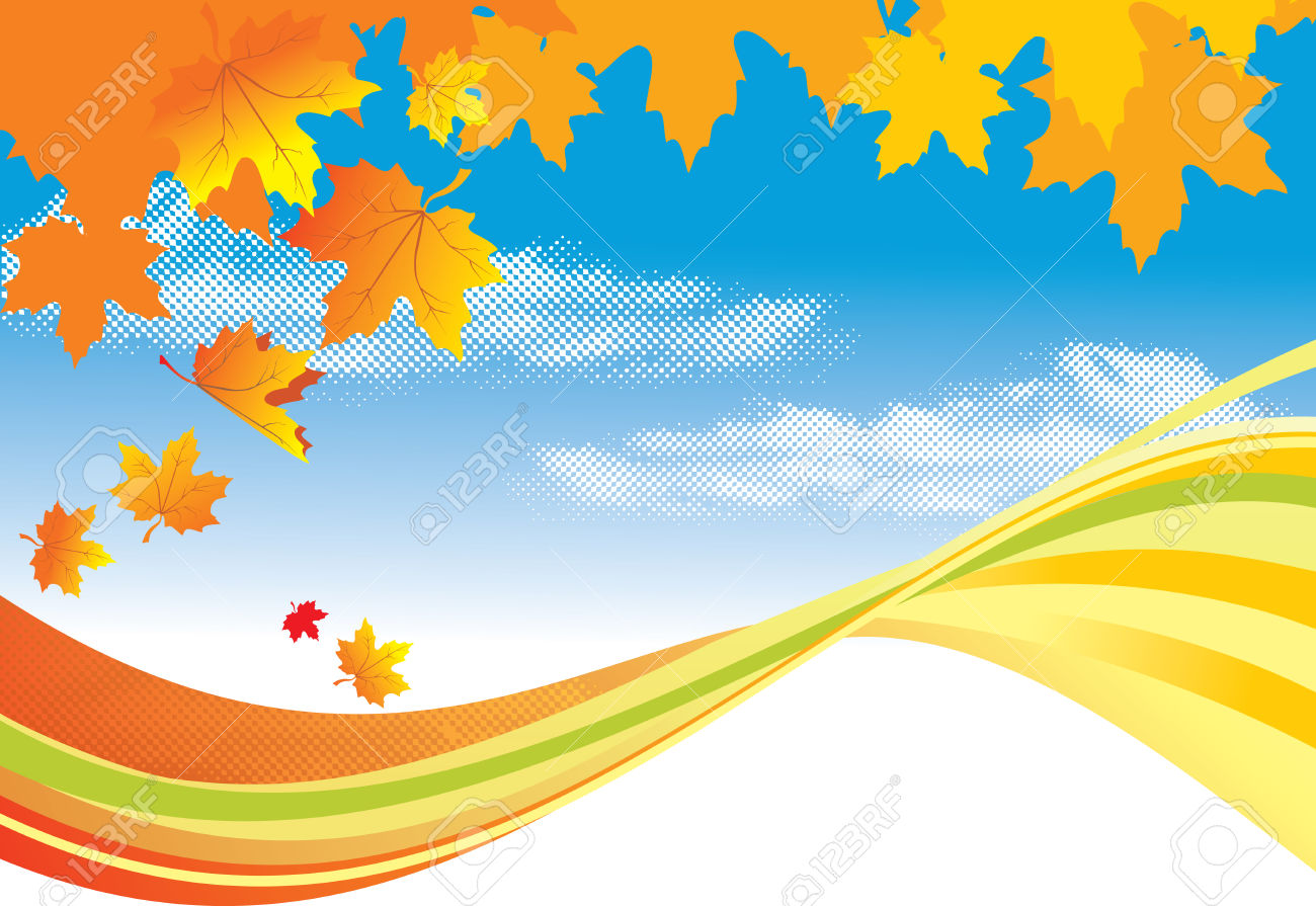 Autumn Background / Gold Leaves And Blue Sky Royalty Free Cliparts.