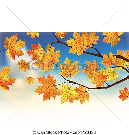 Vectors of Fall leaves in front of blue sky with clouds. EPS 8.