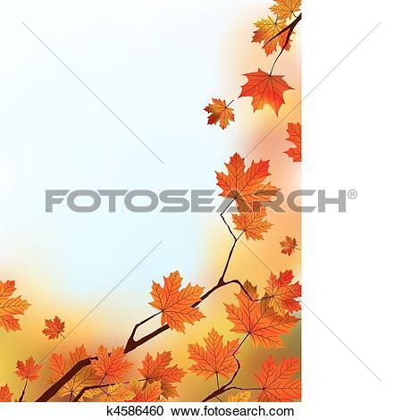 Clipart of Maple Tree Leaves against blue sky. k4586460.