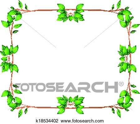 An empty frame with green leafy borders Clipart.