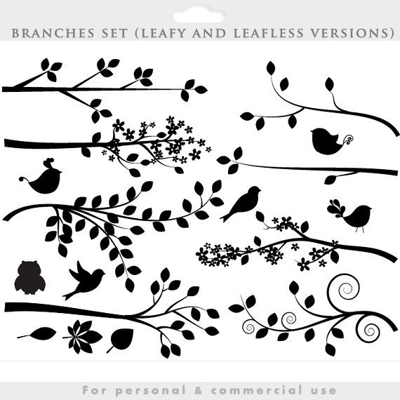 Branch silhouette clipart.