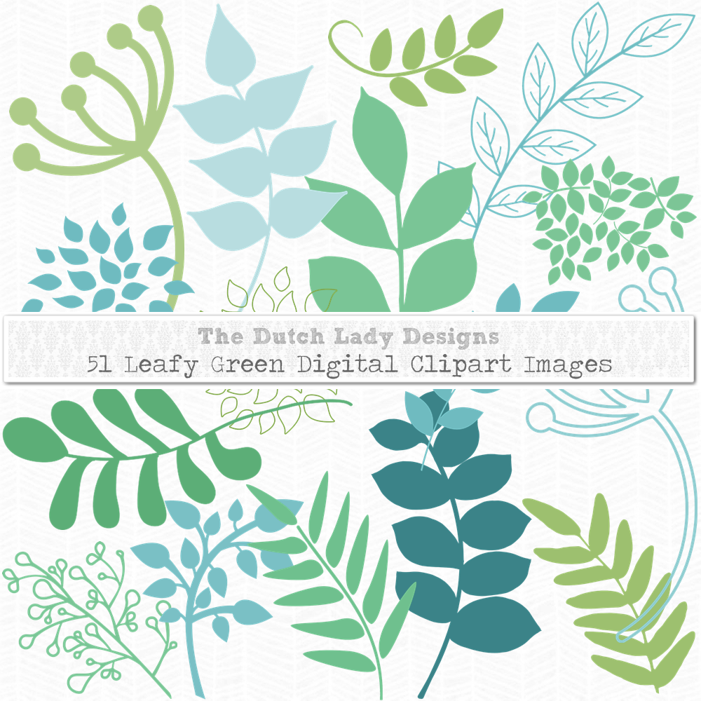 Leafy Green & White Floral Clipart Sets.