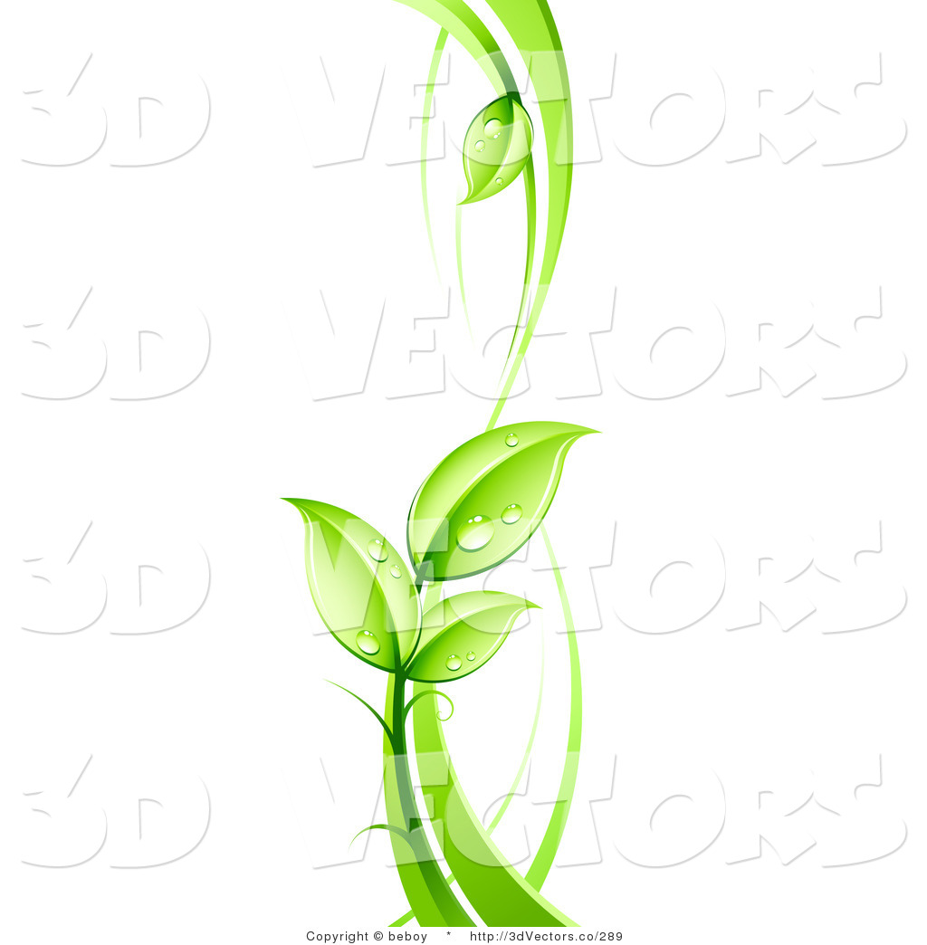 3d Vector Clipart of a Lush Leafy Green Vine with Dew Drops on the.