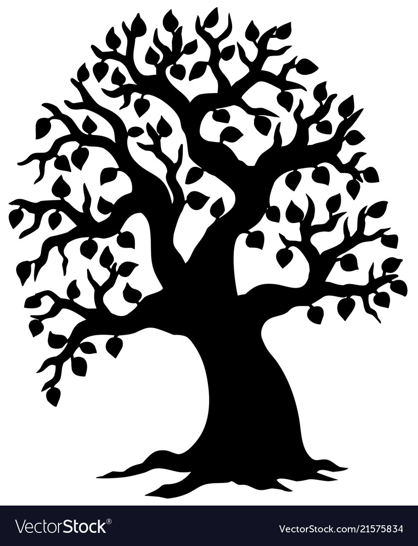 Big leafy tree silhouette.