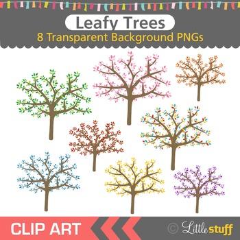 Tree Clipart, Leafy Trees Clip Art.
