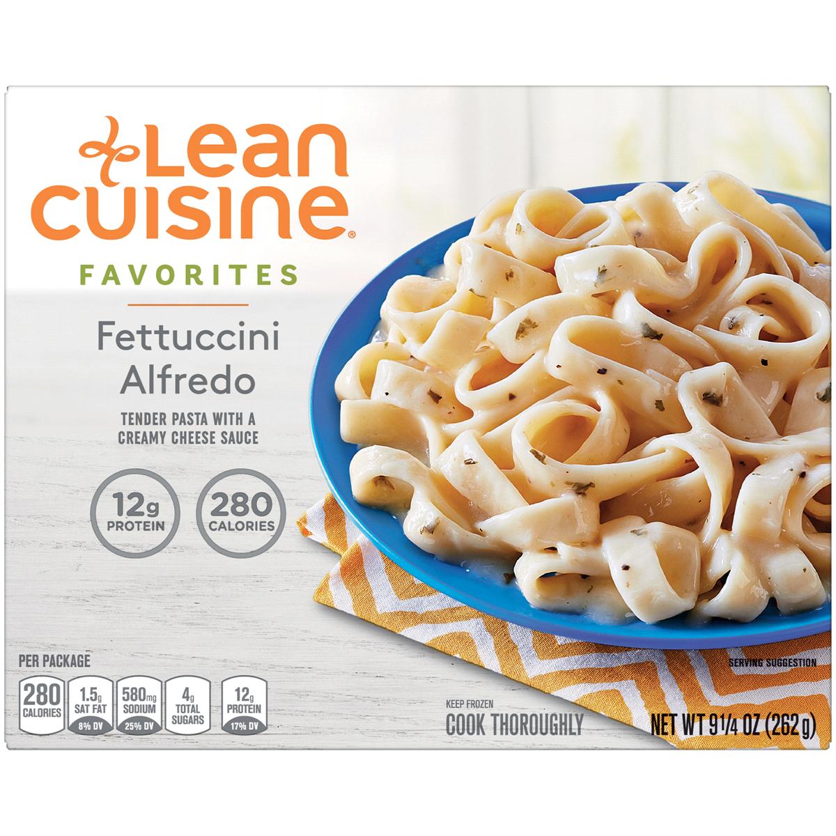 LEAN CUISINE FAVORITES Fettuccini Alfredo, 9.25 oz. Frozen.
