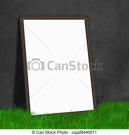Stock Photography of white paper lean on black wall on the grass.