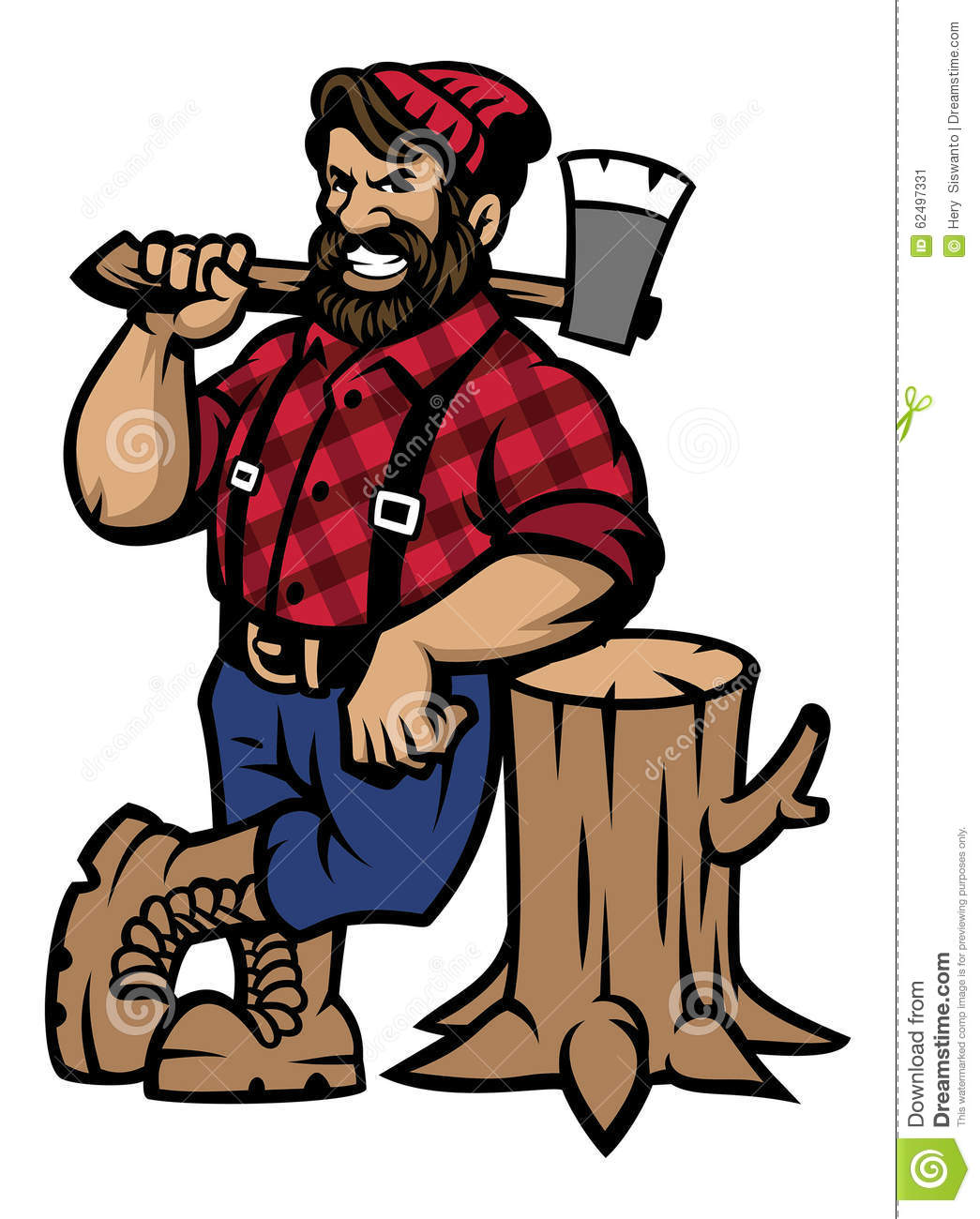 Lumberjack Lean On The Wood Log Stock Vector.