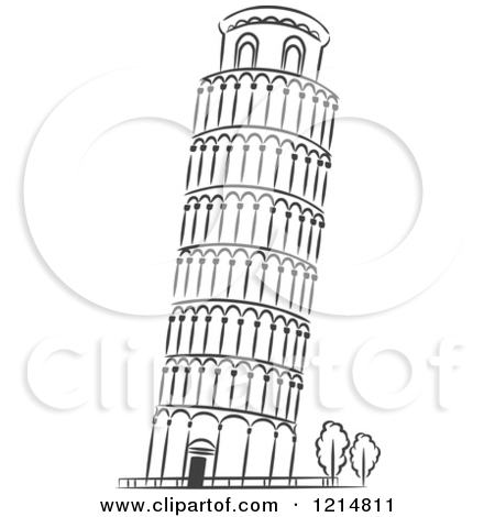 Leaning Tower Of Pizza Clipart.