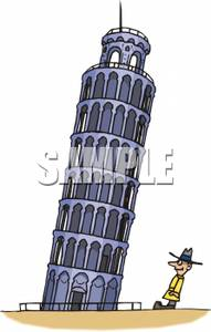 Tourist By the Leaning Tower of Pisa.
