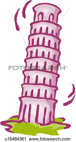 Clipart of Leaning Tower of Pisa u16484361.
