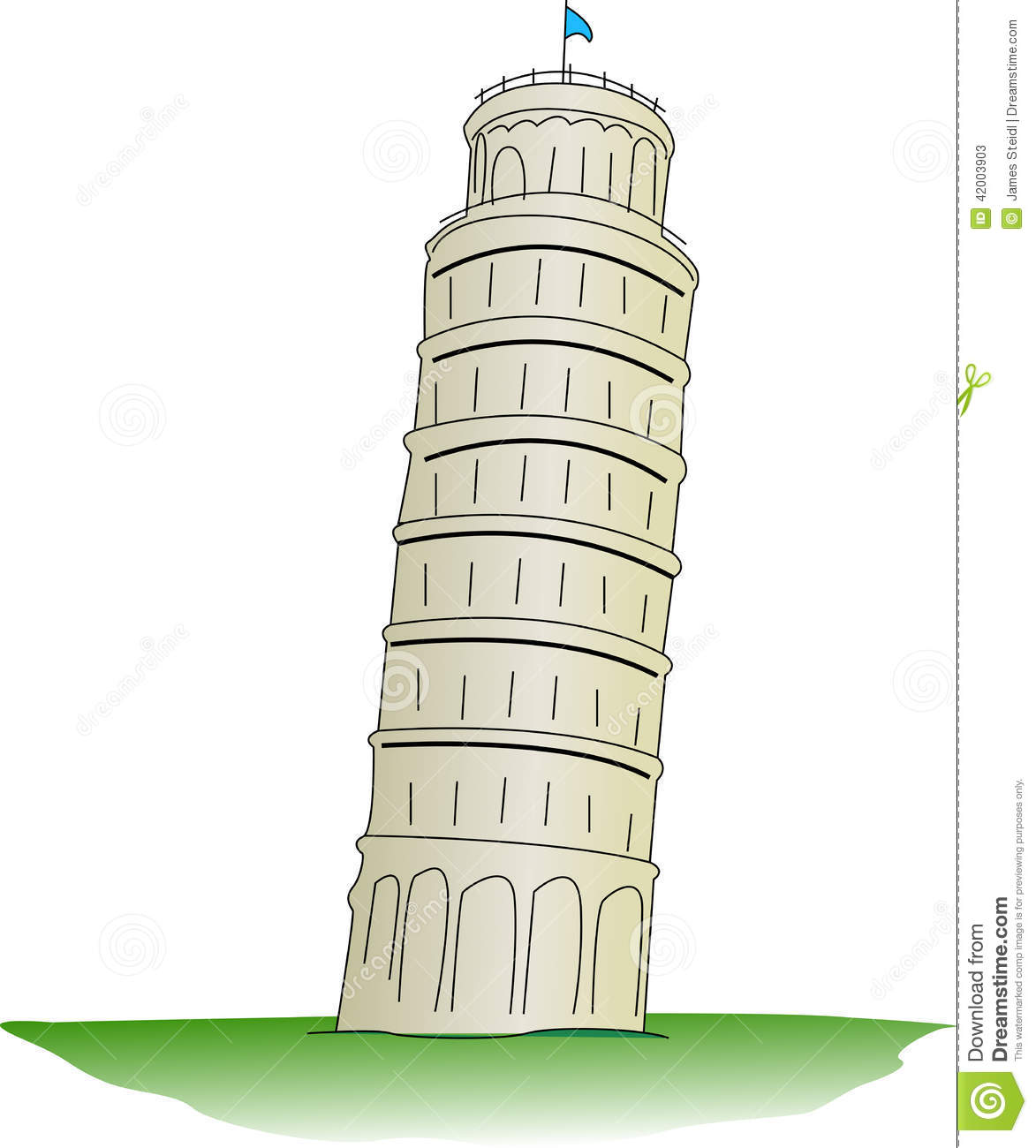 Leaning Tower Of Pisa Stock Vector.